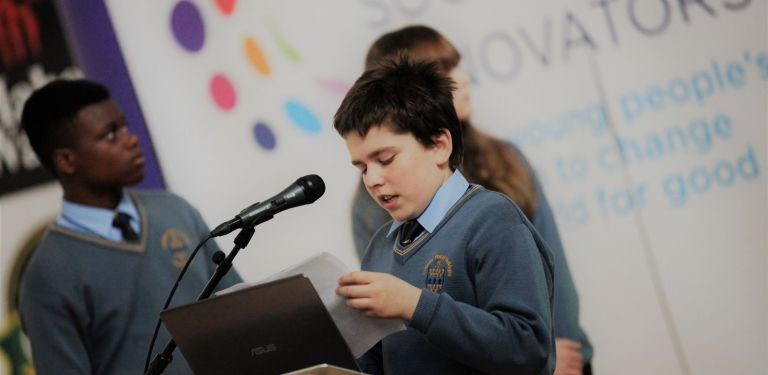 Students from Nagle Community School present their project during a local community event in Cork to coincide with YSI Week