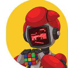 Robot with rubix cube against yellow background