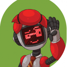 Robot waving against green background